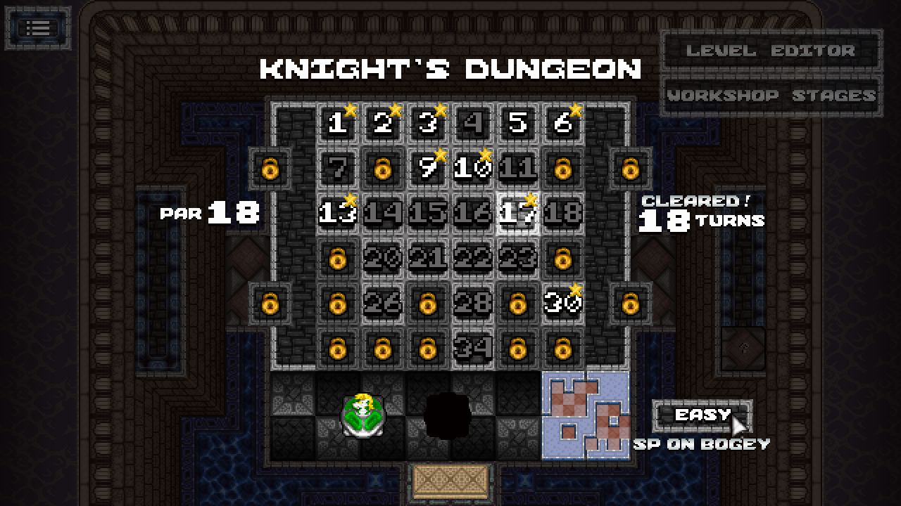 Gigachess screenshot - Knight's Dungeon level selector