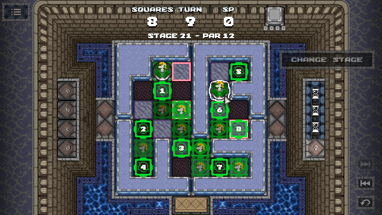 Gigachess screenshot - Knight's Dungeon stage 21 nearly solved